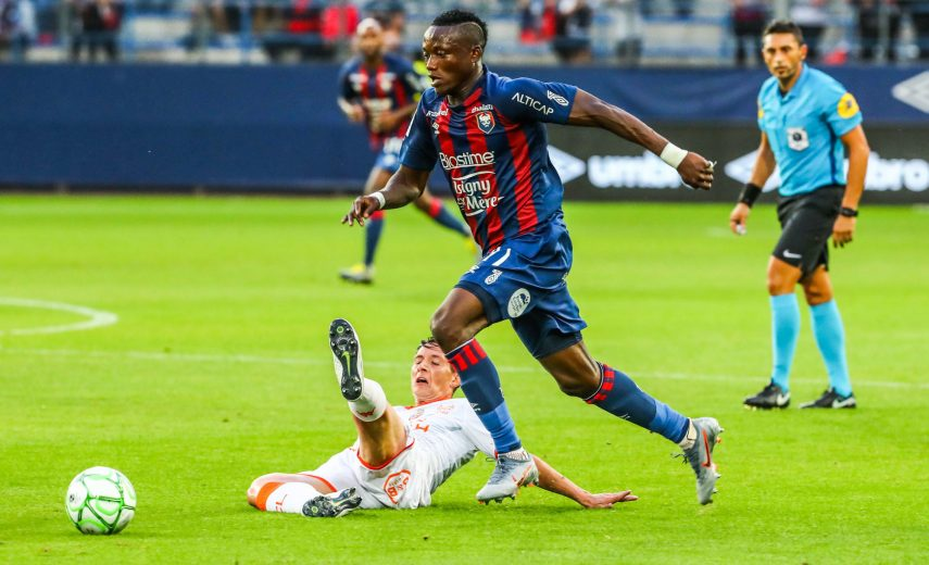 Casimir Ninga of Caen during the Ligue 2 match between Stade Malherbe Caen and Football Club Lorient at Stade Michel D'Ornano on August 5, 2019 in Caen, France. (Photo by Valentin Desbriel/Icon Sport)