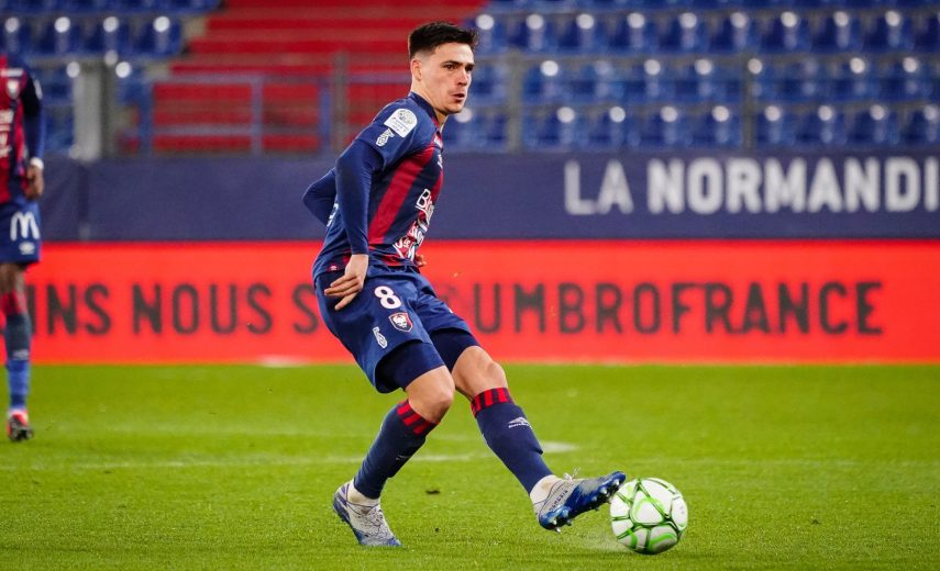 Jessy DEMINGUET of Caen during the Ligue 2 match between Caen and Grenoble on February 28, 2020 in Caen, France. (Photo by Pierre Costabadie/Icon Sport) - Jessy DEMINGUET - Stade Michel d'Ornano - Caen (France)