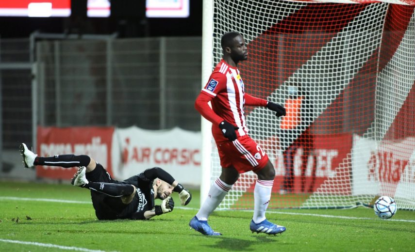 Bevic Moussiti-Oko of Ajaccio score his goal during the Ligue 2 BKT match between Ajaccio and Caen at Stade Francois Coty on January 16, 2021 in Ajaccio, France. (Photo by Michel Luccioni/Icon Sport) - Stade François-Coty - Ajaccio (France)